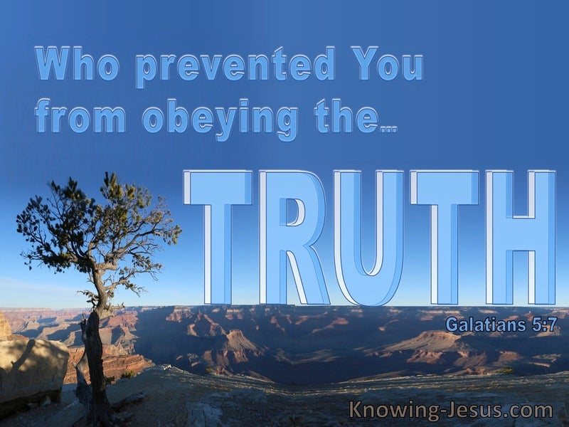 Galatians 5:7 Running Well But Prevented From Obeying Truth (blue)