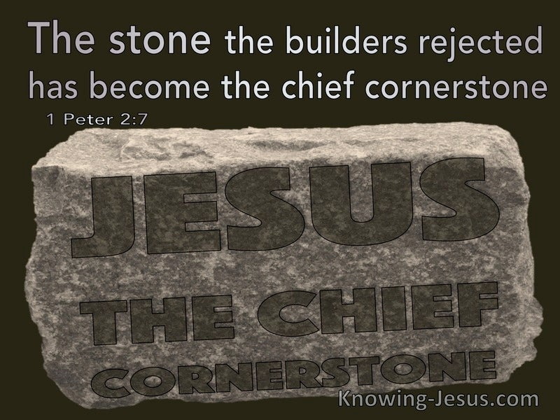 1 Peter 2:7 The Stone The Builders Rejected Has Become The Chief Cornerstone (beige)