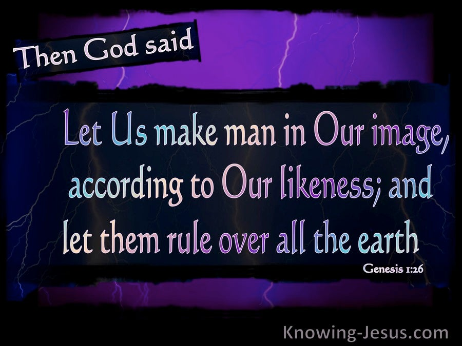 Genesis 1:26 Let Us Make Man In Our Image And Likeness (purple)