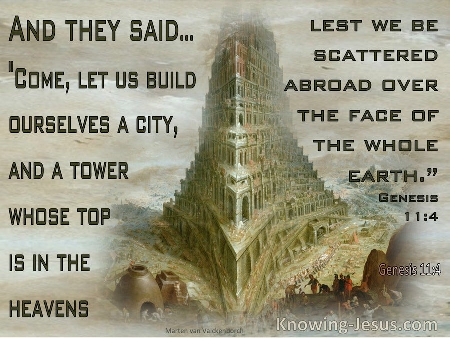 Genesis 11:4 Come Let Us Build A Tower Lest We Be Scattered (beige)