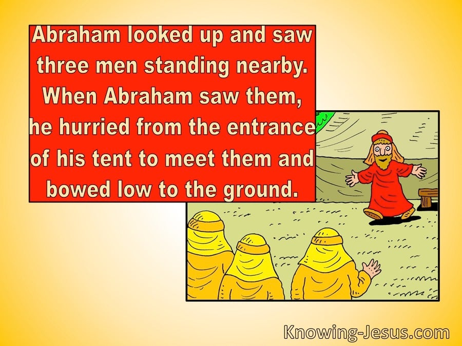 Genesis 18:2 Abraham Looked Up And Saw Three Men (red)