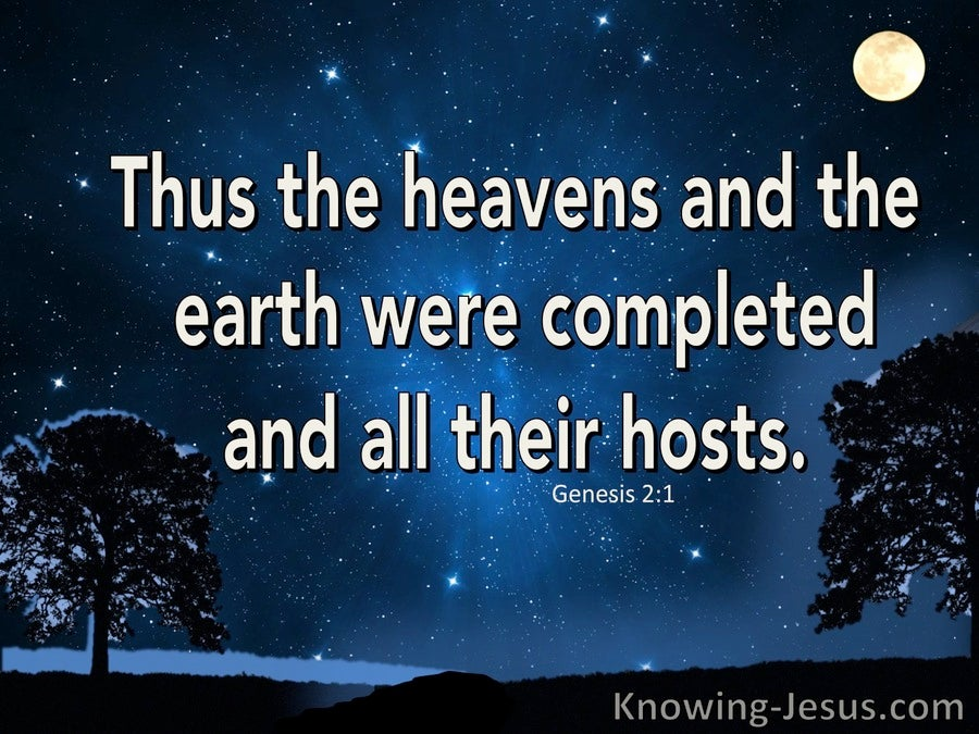 Genesis 2:1 The Heaven And Earth Were Completed (blue)