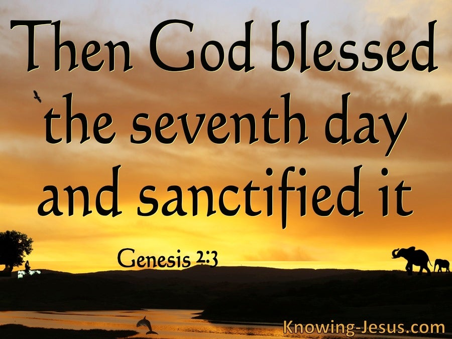 Genesis 2:3  God Bessed The Seventh Day And Sanctified It (orange)