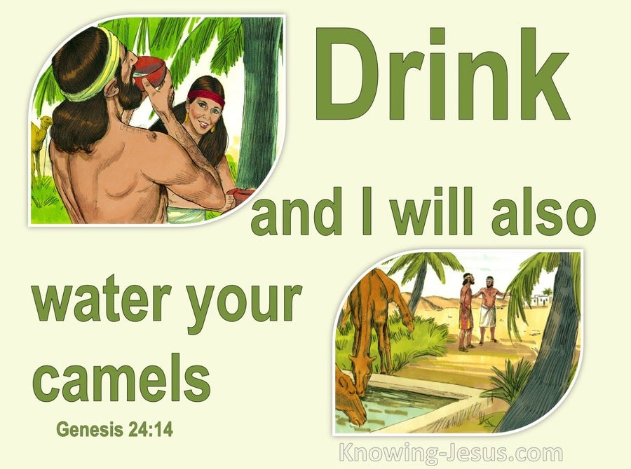 Genesis 24:14 Drink And I Will Water Your Camels Also (beige)