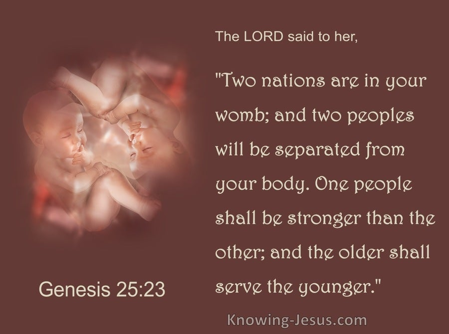 Genesis 25:23 Two Nations Are In Your Womb (brown)