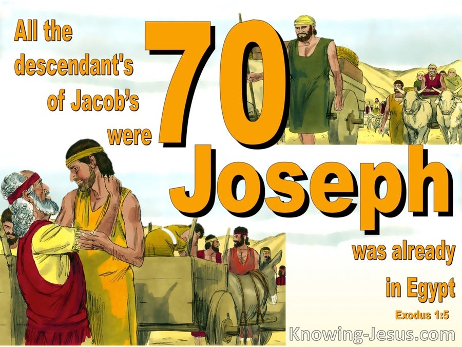 Exodus 1:5 All Who Came From Jacob Were 70 In Number (yellow)