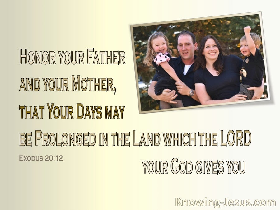 Exodus 20:12 Honour Your Father And Mother (beige)