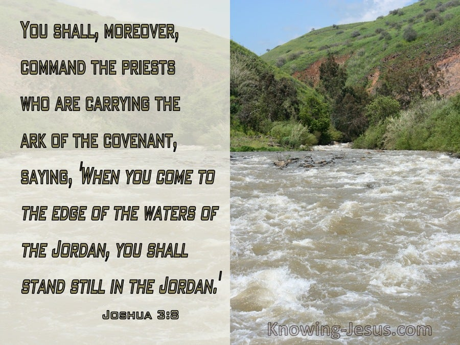 Joshua 3:8 Command The Priests To Shall Stand In The Jordan (green)