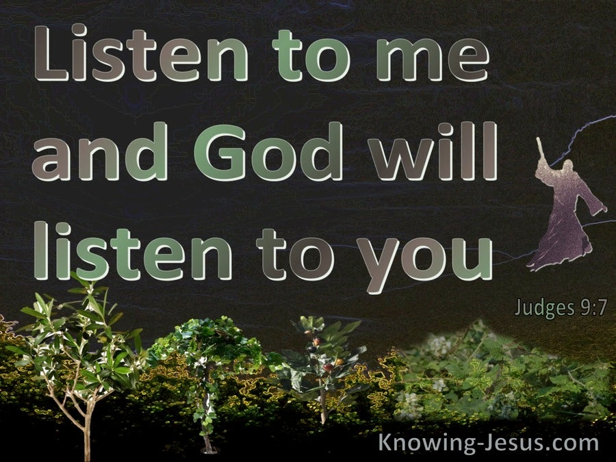 Judges 9:7 Listen To Me And God Will Listen To You (black)