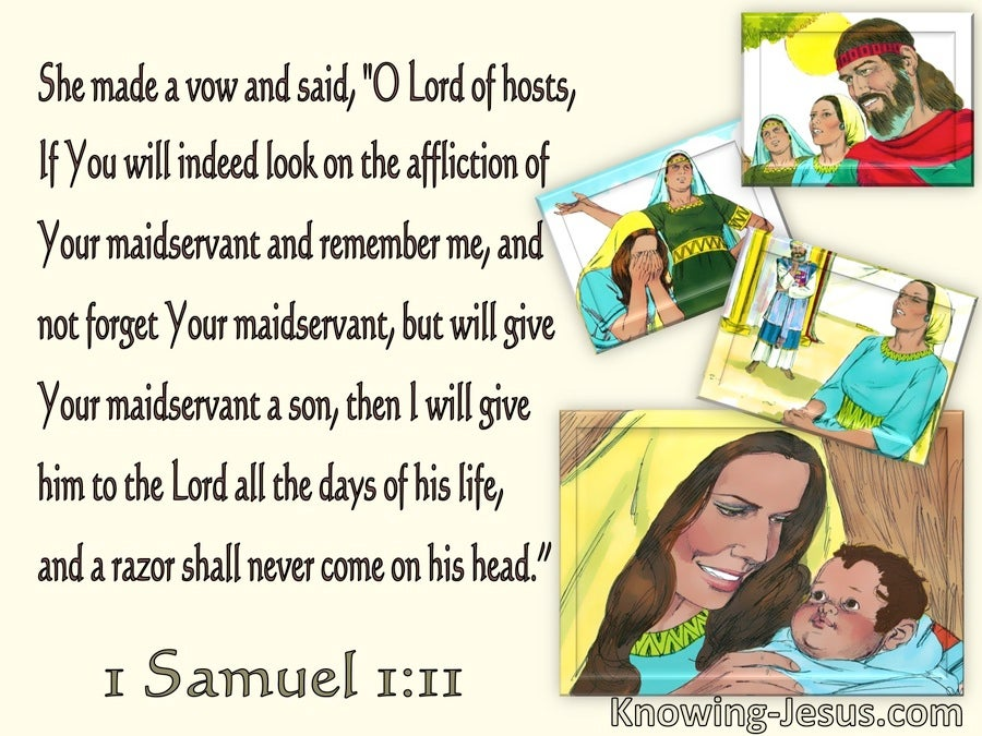 1 Samuel 1:11 Hannah Prayed Lord Remember Me (yellow)