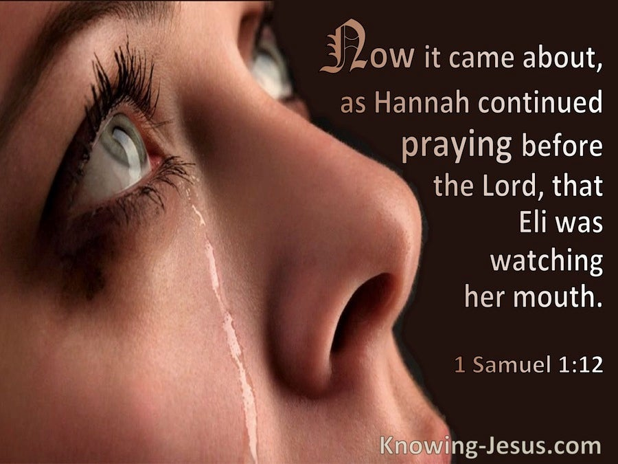 1 Samuel 1:12 She Continued Praying Before The Lord (pink)