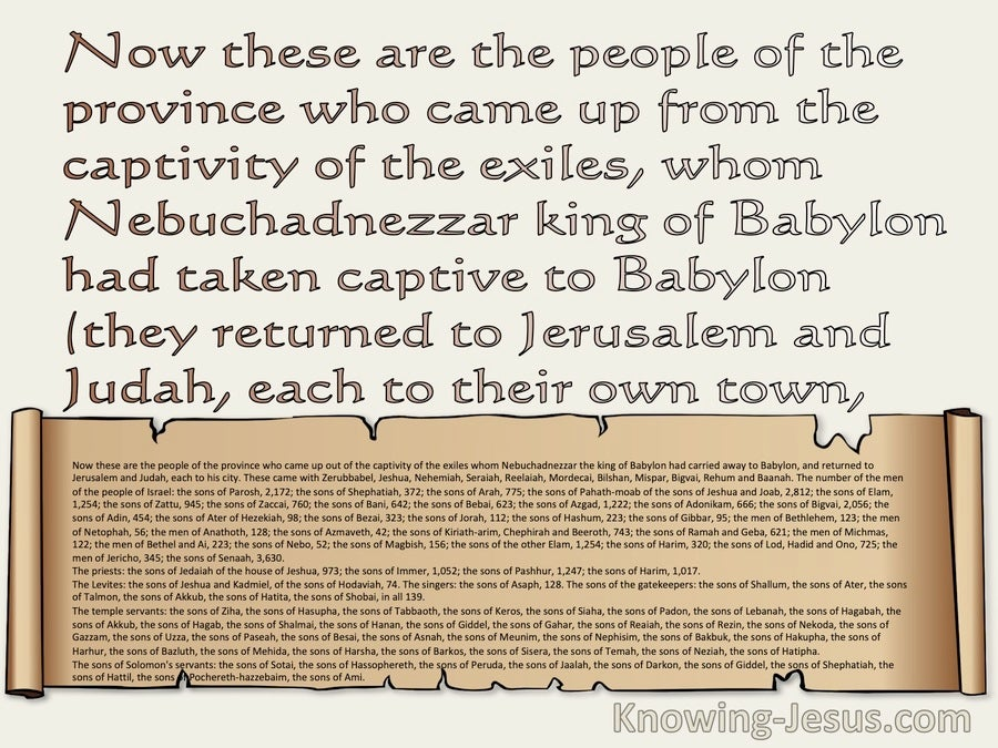 Ezra 2:1 These Are The People Who Came Into Captivity Whom  King Nebuchadnezzer Took To Babylon (beige)