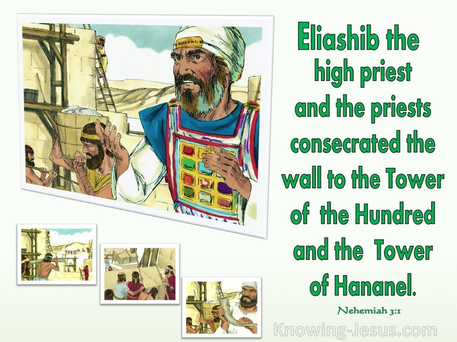 Nehemiah 3:1 Eliashib And The Priests Built The Sheep Gate (green)