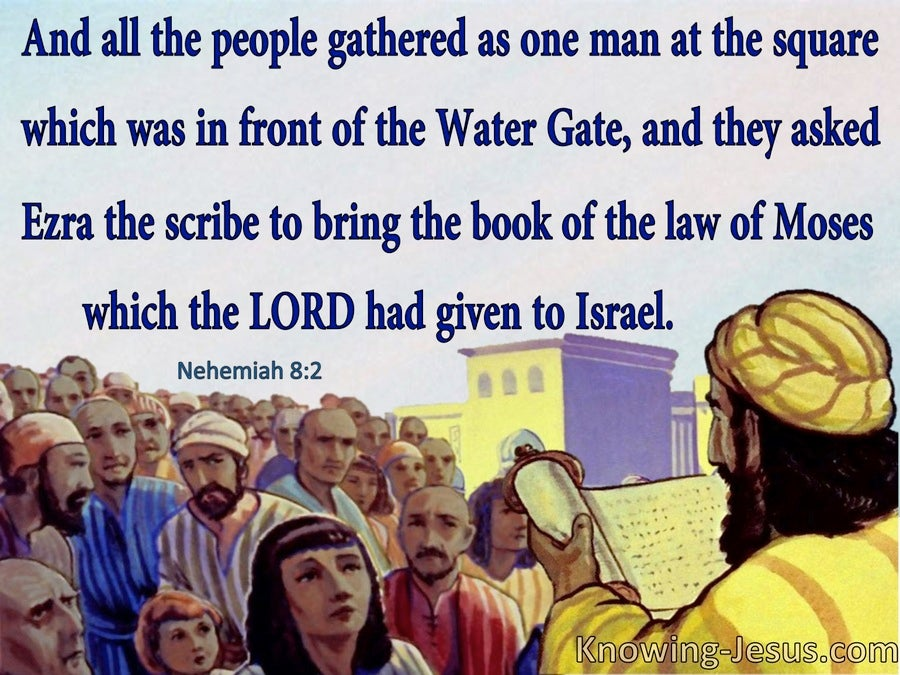 Nehemiah 8:2 Ezra The Scribe Brought The Book Of The Law (blue)