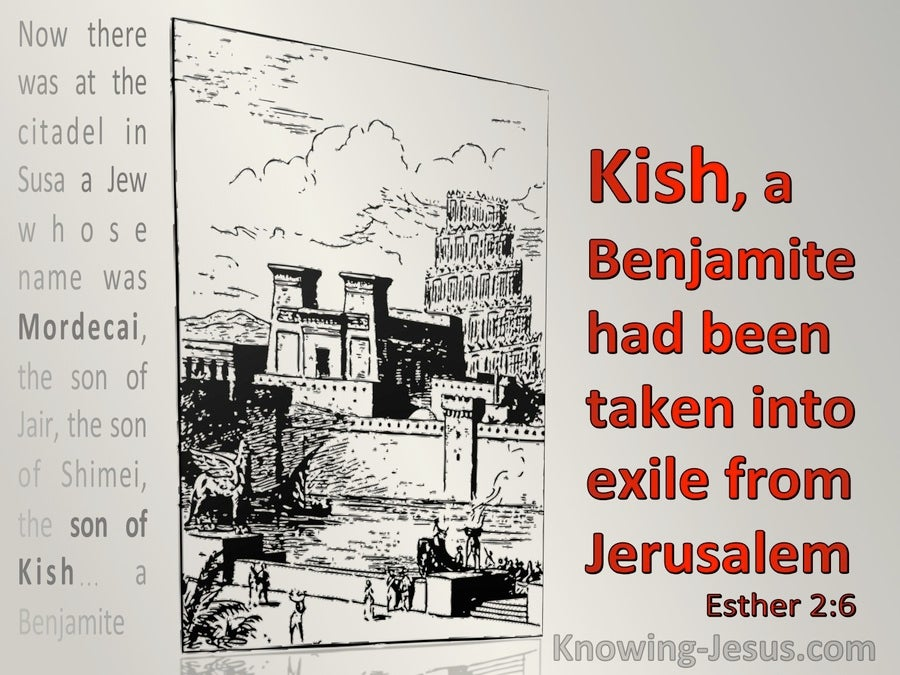 Esther 2:6 Kish A Benjamamite Had Been Taken Into Exile From Jerusalem (red)