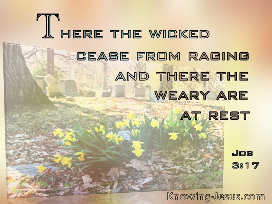 Job 3:17 The Wicked Cease Raging. The Weary Are At Rest  (beige)