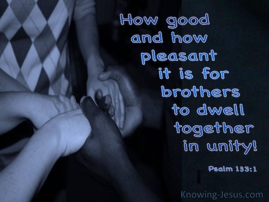 Psalm 133:1 How Good To Dwell Together In Unity (blue)