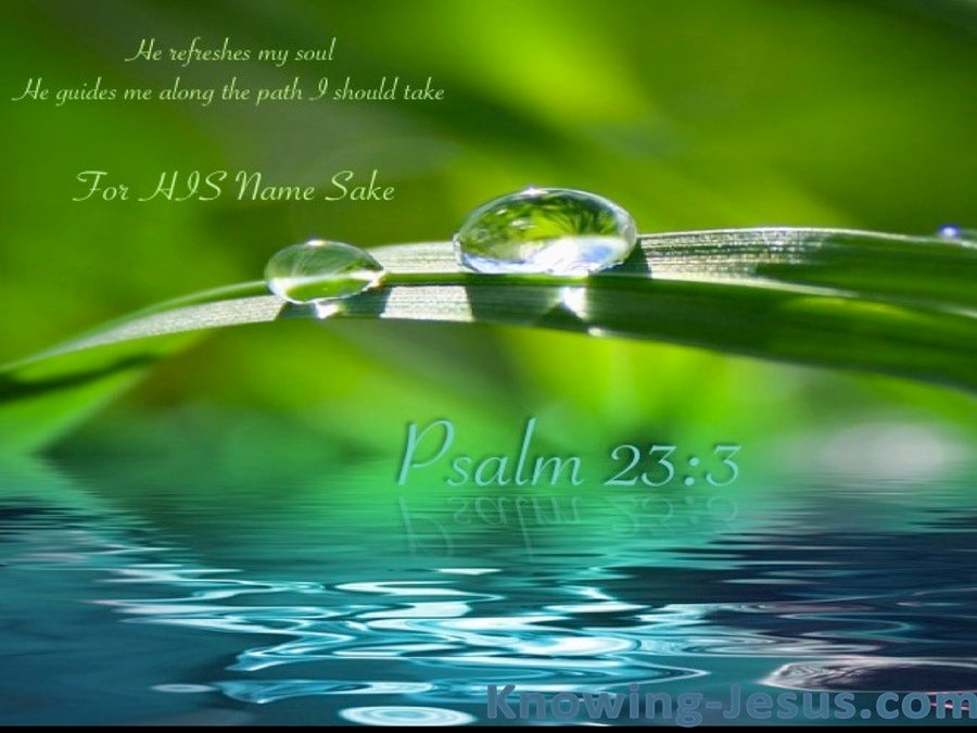 Psalm 23:3 He Leads Me Beside Still Waters (green)