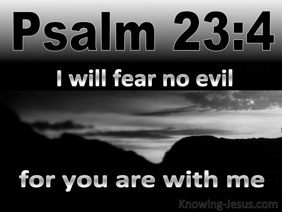 Psalm 23:4 I Fear No Evil For You Are With Me (black)