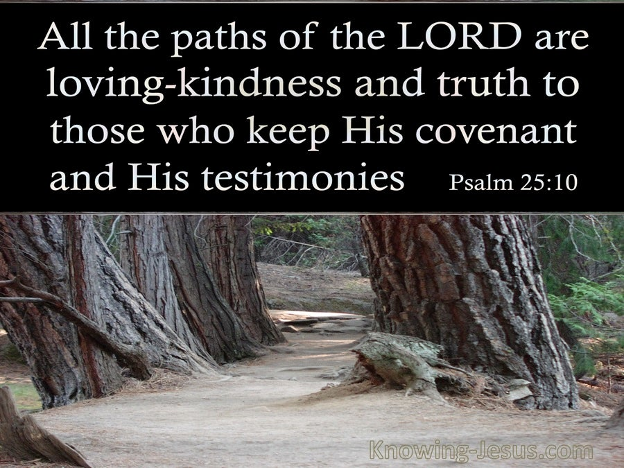 Psalm 25:10 All The Paths Of The Lord Are Loving:Kindness And Truth (black)