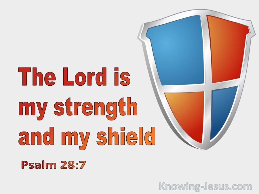 Psalm 28:7 The Lord Is My Strength And Shield (gray)