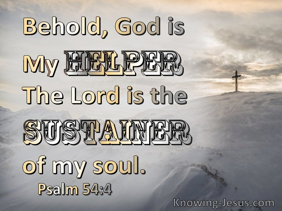 Psalm 54:4 Behold, God Is My Helper (gray)