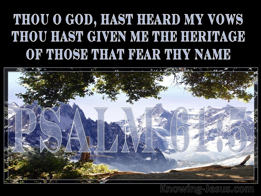 Psalm 61:5 Thou Hast Heard My Vows (blue)