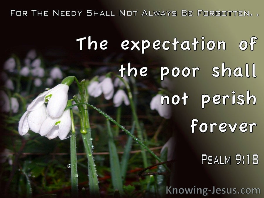 Psalm 9:18 The Expectation Of The Poor Shall Not Prerish (black)
