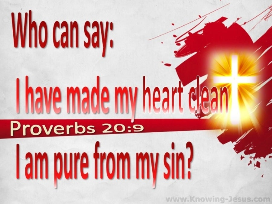 Proverbs 20:9 Who Can Say My Heart Is Clean (red)