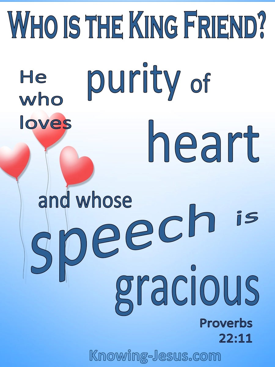 Proverbs 22:11 Purity Of Heart And Gracious Speech The King Is His Friend (blue)