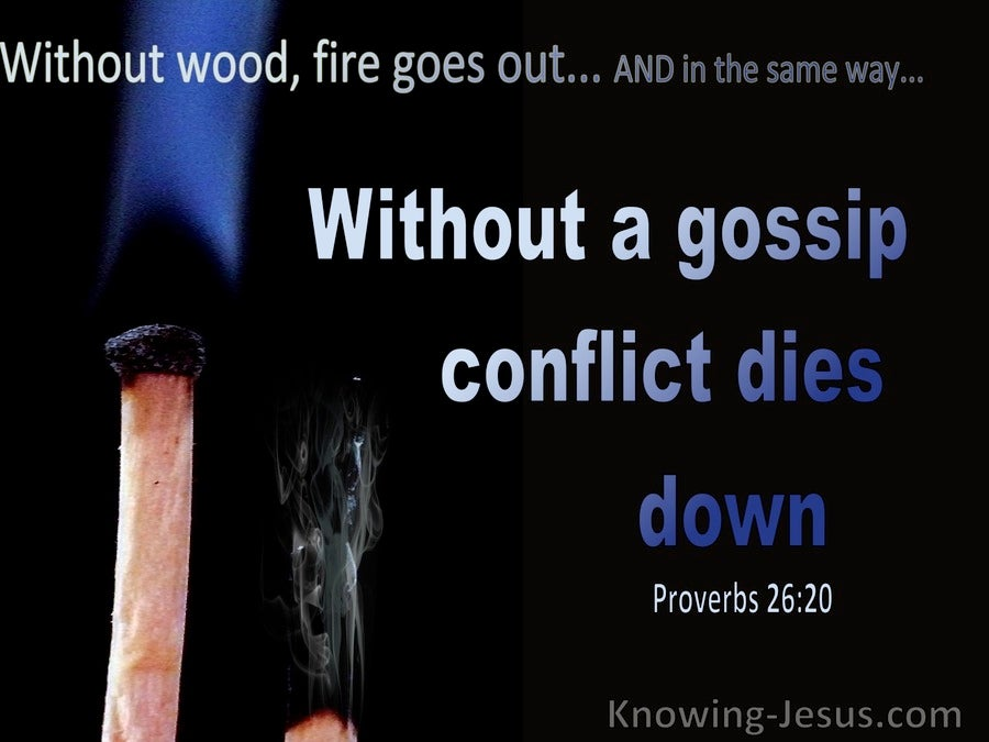 Proverbs 26:20 Without Wood, Fire Goes Out Without A Gossip, Conflict Dies Down (blue)