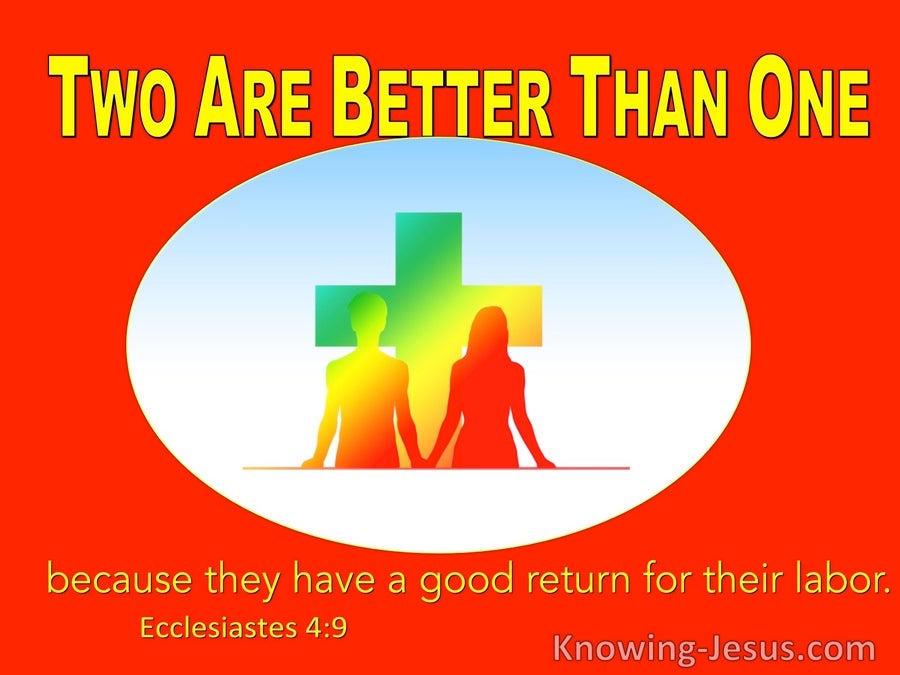 Ecclesiastes 4:9 Two Are Better Than One Because They Have A Good Reward For Their Labour (red)