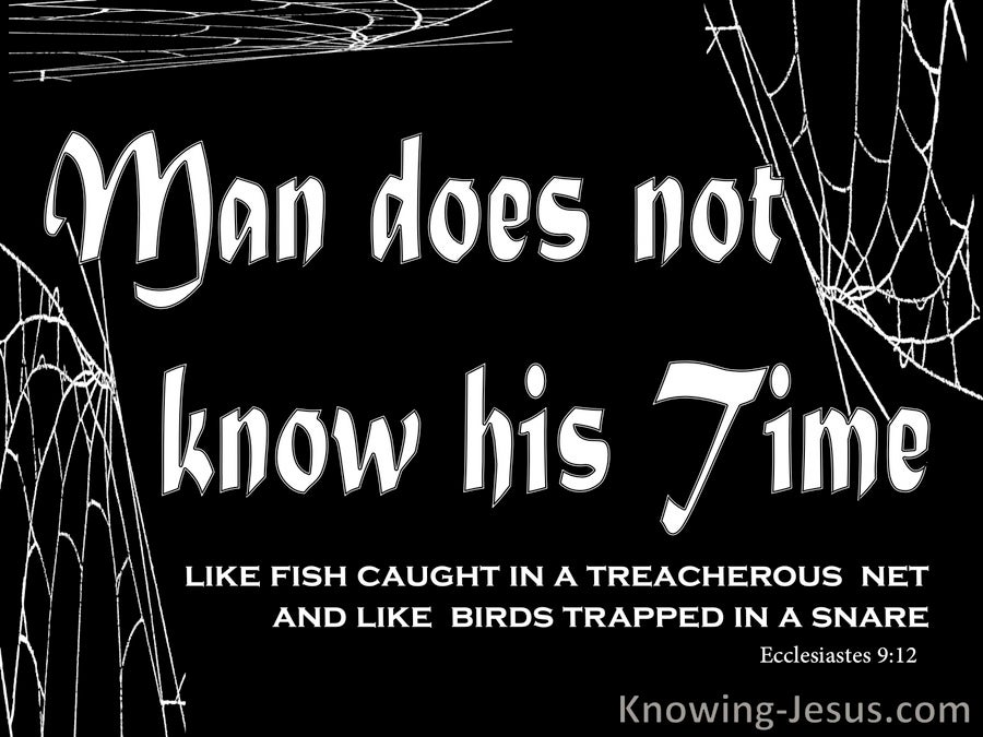 Ecclesiastes 9:12 Man Does Not Know His Time (white)