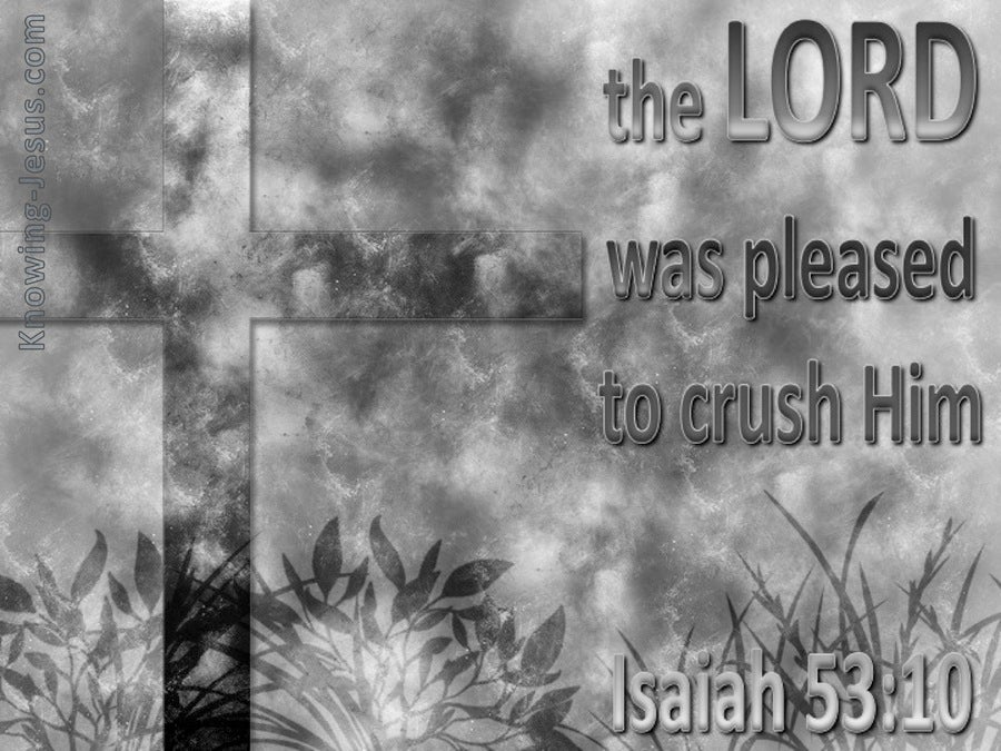 Isaiah 53:10 The Lord Was Pleased To Crush Him (gray)