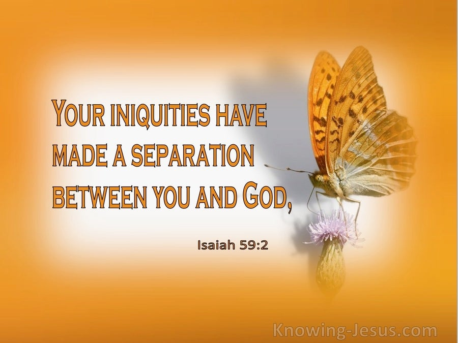 Isaiah 59:2 Your Iniquities Have Made A Separation Between You And God (orange)