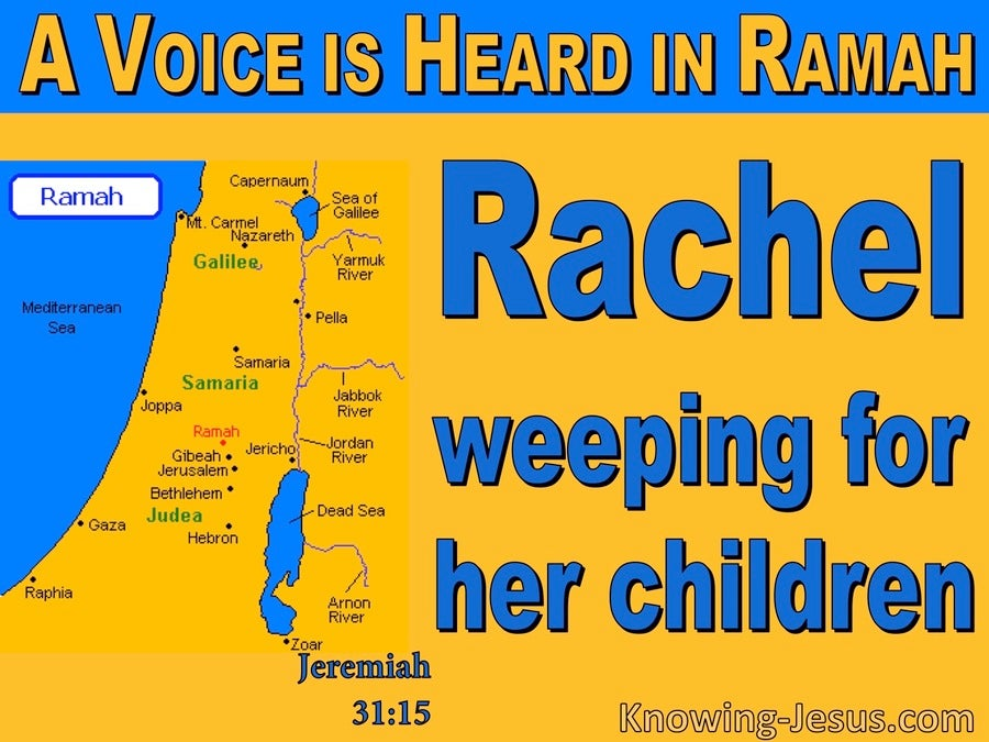 Jeremiah 31:15 Rachel Weeping For Her Children (blue)