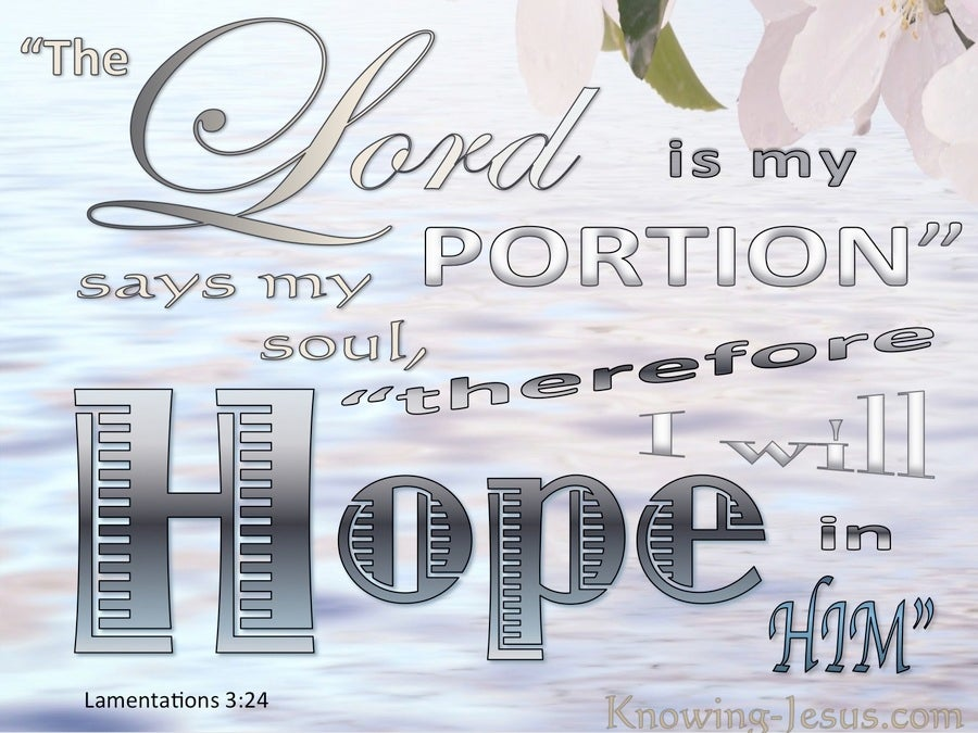 Lamentations 3:24 The Lord Is My Portion. I Hope In Him (pink)