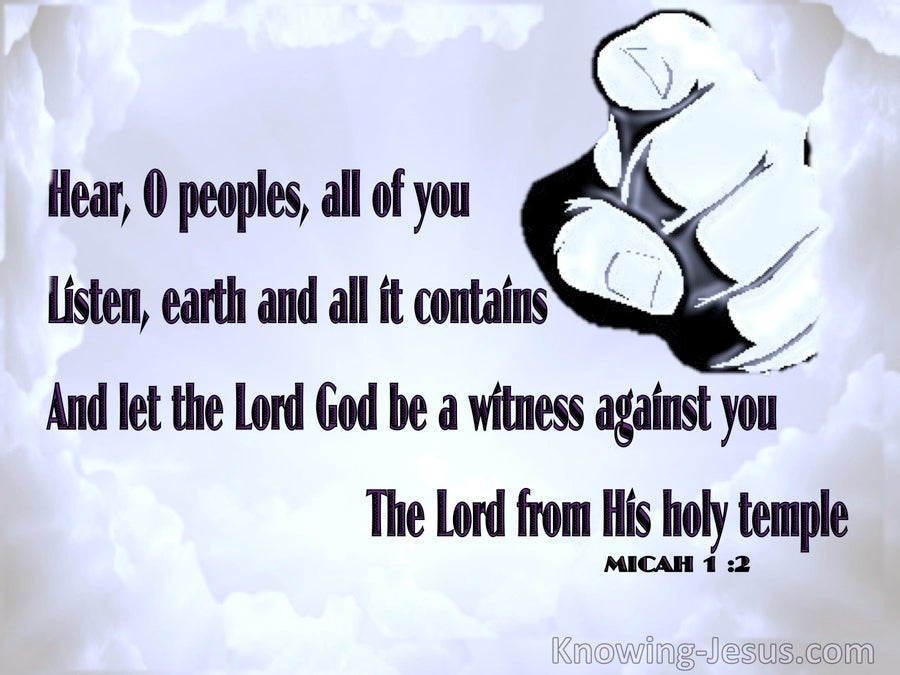 Micah 1:2 The Lord God Is A Witness Against You (blue)