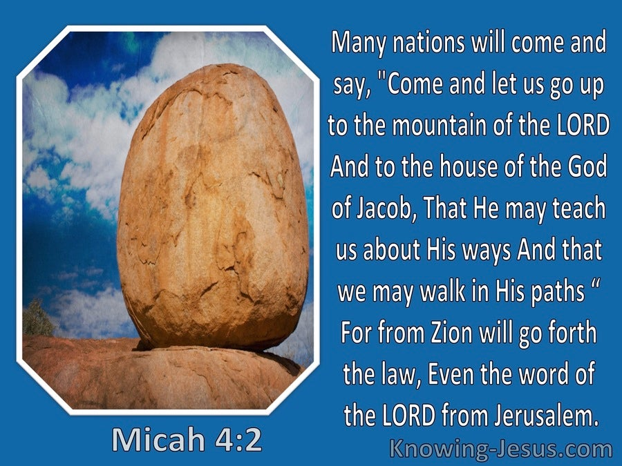 Micah 4:2 Let Us Go Up To The Mountain Of The Lord (blue)