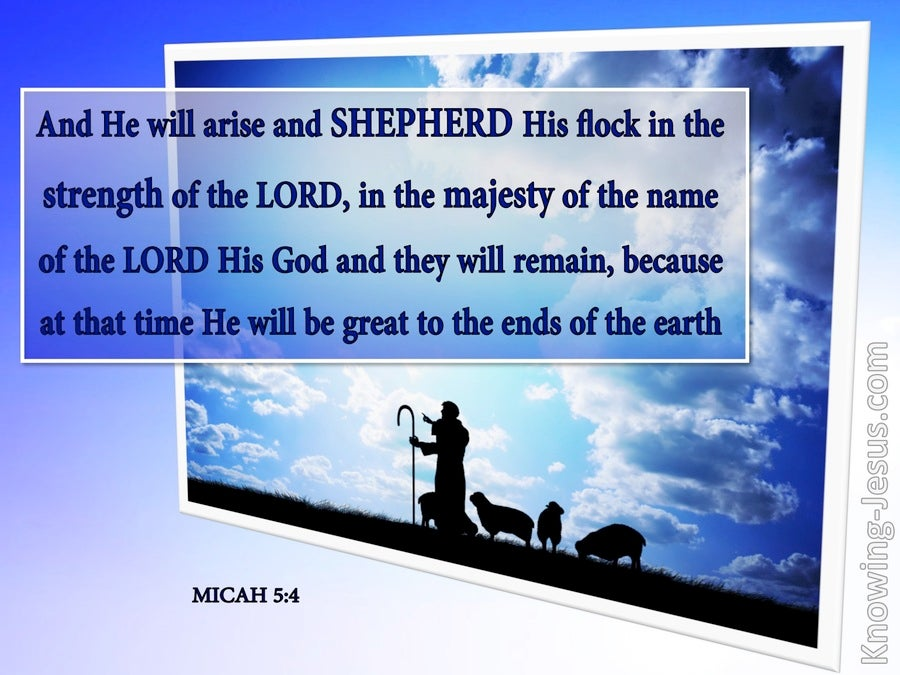 Micah 5:4 He Will Arise And Shepherd His Flock (purple)