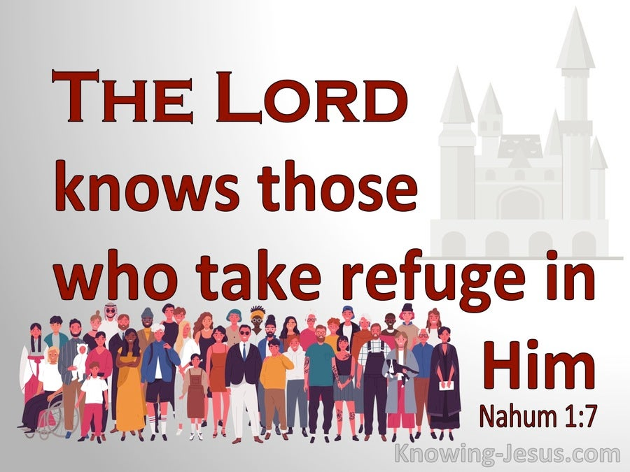 Nahum 1:7the Lord Is Good A Stronghold In The Day Of Trouble (red)