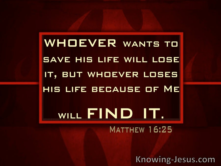 Matthew 16:25 Whoever will lose His life (red)