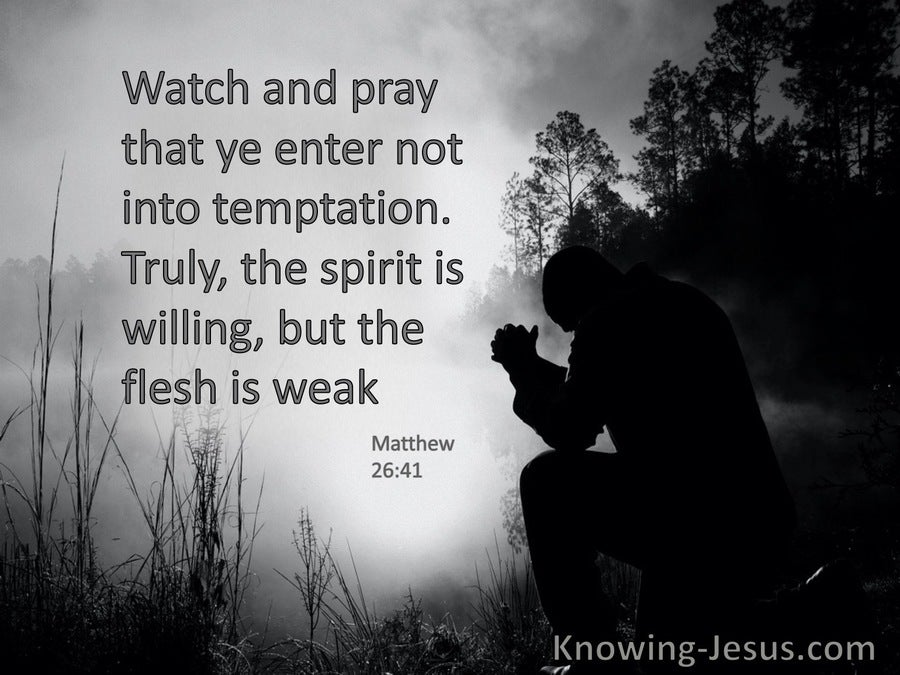 Matthew 26:41 Watch And Pray They Ye Enter Not Into Temptation (gray)