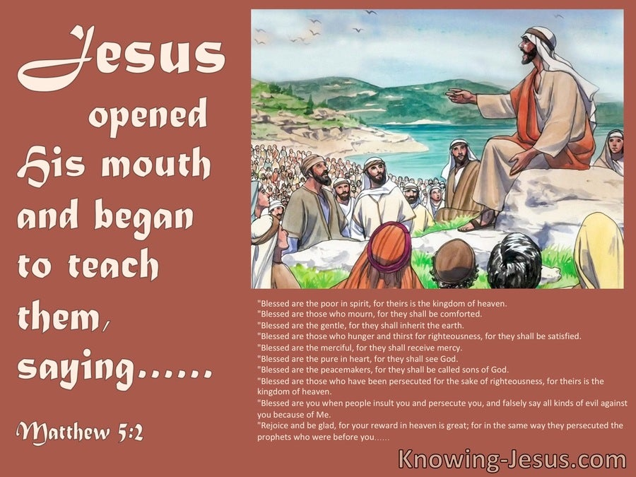 Matthew 5:2 He Opened His Mouth And Taught Them (brown)