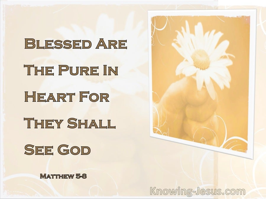 Matthew 5:8 Blessed Are The Pure In Heart For They Shall See God (white) (beige)
