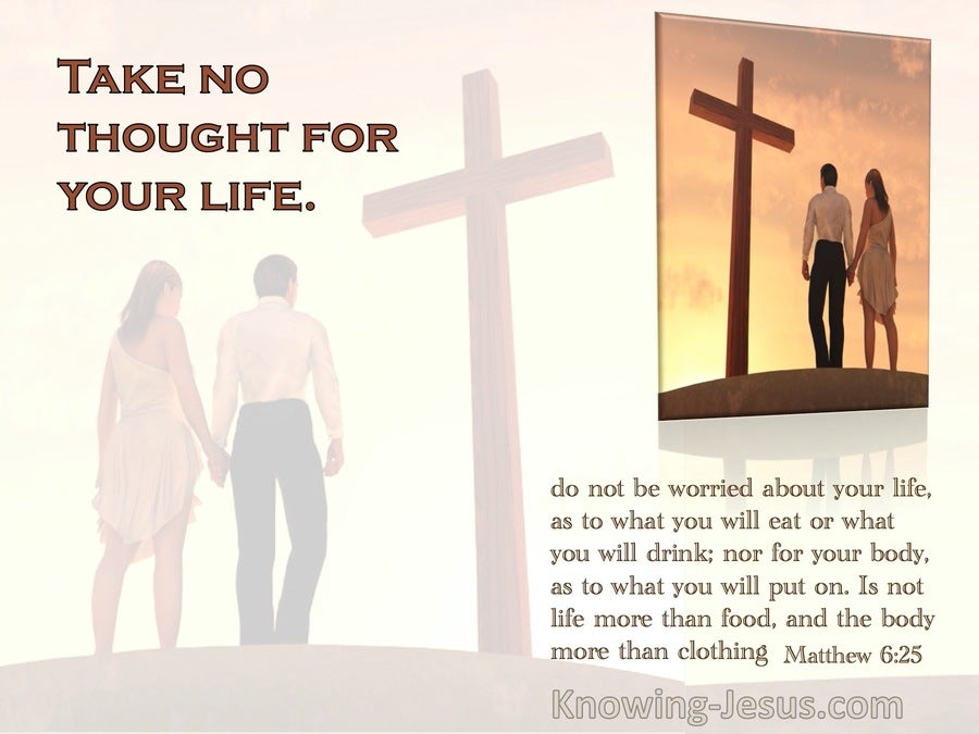 Matthew 6:25 Take No Thought For Your Life (orange)