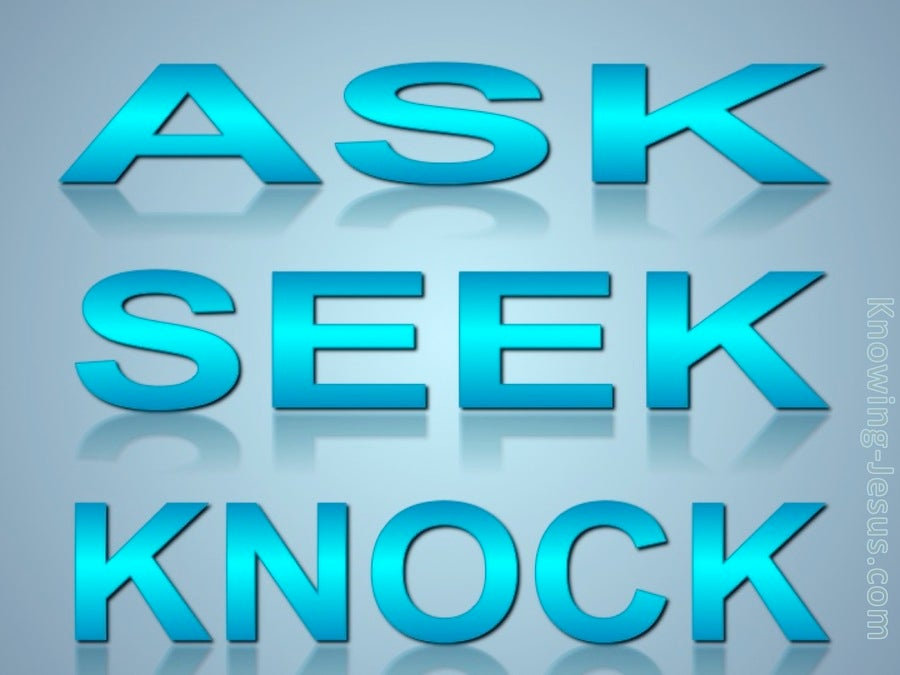 Matthew 7:7 Ask, Seek, Knock (blue)