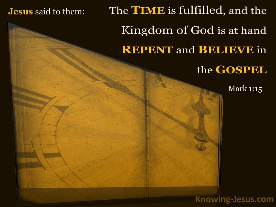 Mark 1:15 Repent And Believe In The Gospel (brown)