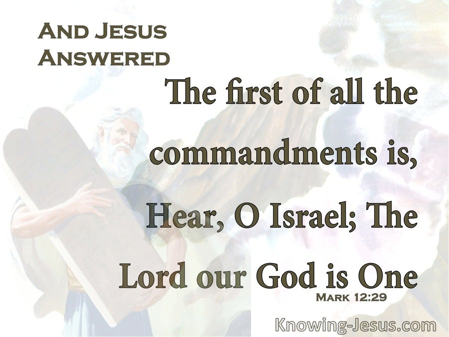 Mark 12:29 The Lord Our God Is One Lord (white)