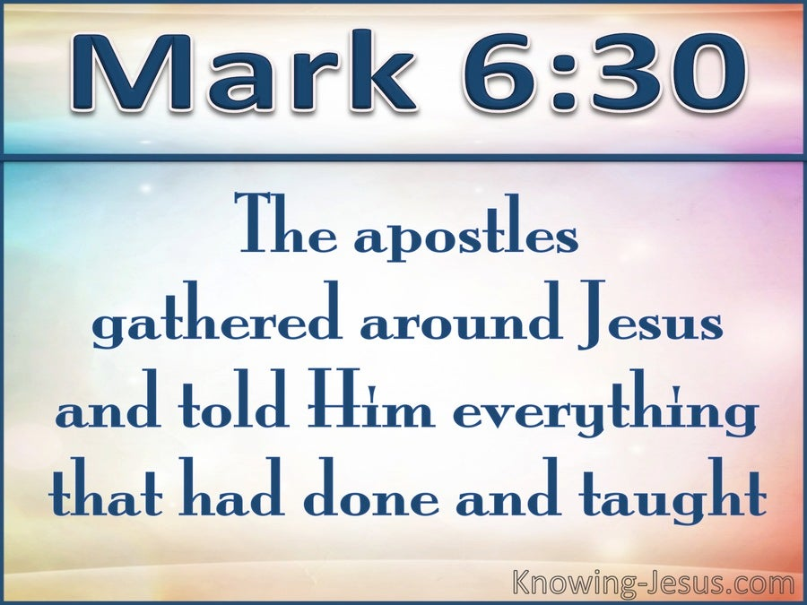 Mark 6:30 They Gathered Around Jesus (white)